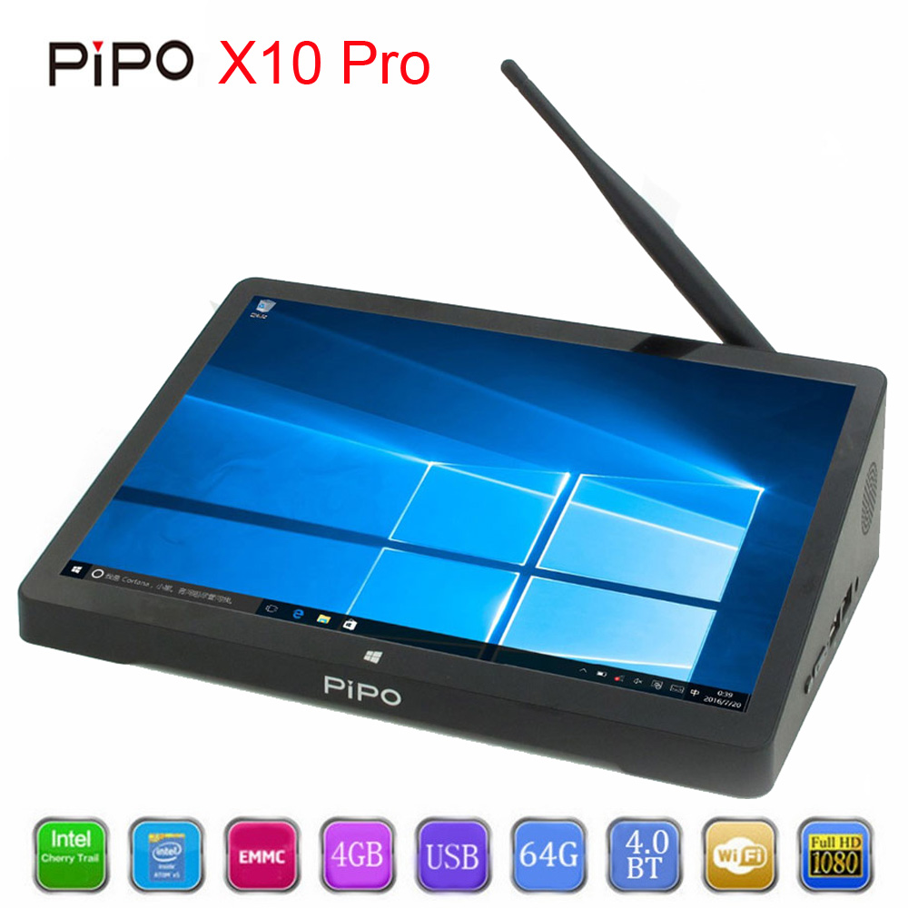 PiPo X10 Pro 10.8 Inch 1920*1280 PIPO X10 Mini PC Windows 10 TV Box Z8350 Quad Core 4G RAM 64G ROM HDMI Media Box Bluetooth higole gole1 plus mini pc intel atom x5 z8350 quad core win 10 bluetooth 4 0 4g lpddr3 128gb 64g rom 5g wifi smart tv box