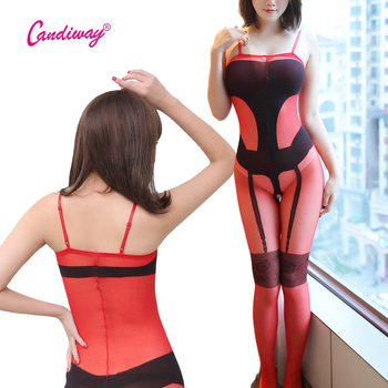 Sexy Contrast color Lace Garter Sheer Bodysuit