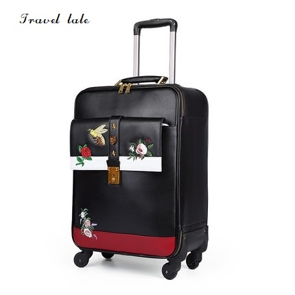 Travel tale high quality fashion embroidery 16 20 24 size 100 PU Rolling Luggage Spinner brand
