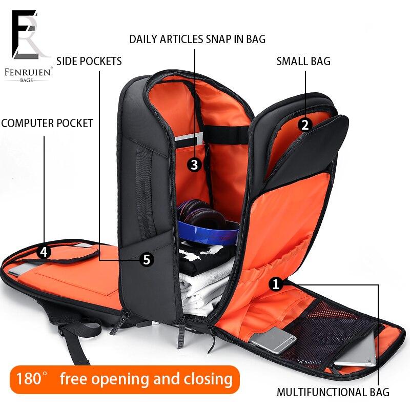 ROWE ビジネス男性のバックパック黒 USB 充電抗盗難ノートパソコンのバックパック 17 インチ男性大容量ファッション旅行バックパック  グループ上の スーツケース & バッグ からの バックパック の中 2