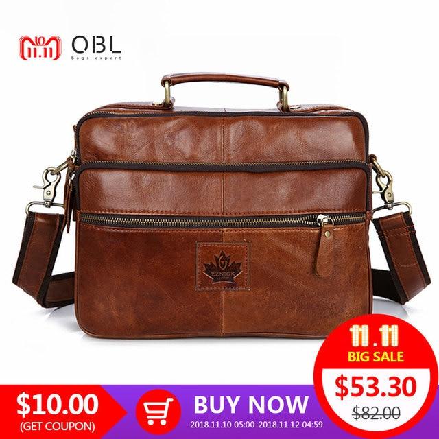 QiBoLu 2017 Cow Genuine Leather Handbags Men Messenger Shoulder Crossbody  Bag Sacoche Homme Bolsa Masculina Bolso Hombre MBA71 5f4a7f18c35a9