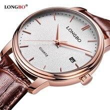 Moda LONGBO BrandLeather Parejas Relojes de pulsera Hombres Mujeres Relojes Fecha Calendario Impermeable 5020