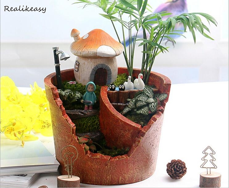 Gardening Large Resin Flower Pots Creative Flower Pots Planter Nursery Pot Garden Supplies Office Green Plant Flower Pots ZH014