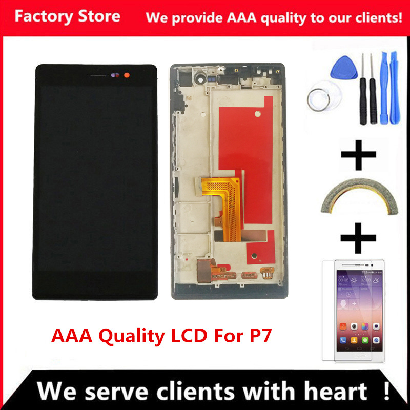 QYQYJOY AAA Quality LCD +Frame For HUAWEI P7 Lcd Display Screen Replacement For HUAWEI P7  Digiziter Assembly