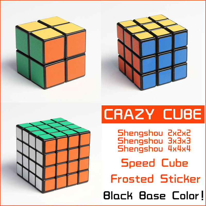 Shengshou Black Set Frosted Sticker 2x2x2 3x3x3 4x4x4 Magic Cube Puzzle 2x2 3x3 4x4 Puzzles Speed spring Cubes - Crazy store