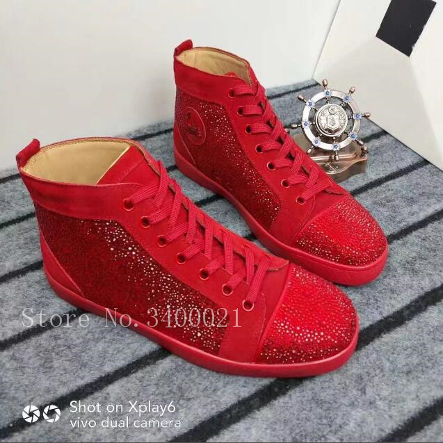 2018 Follwwith Crystal Studs Shinny Leather Flats Lace Up High Top Men Casual Shoes Males Sneakers Trainers Zapatillas 2018 fashion follwwith brand alligator leather high top men casual shoes flats lace uptrainers zapatillas sexy shoes men