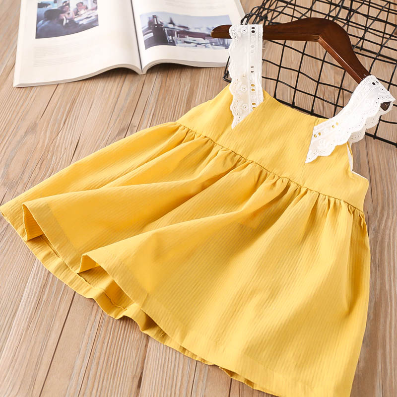 Hurave cotton causal camis dress hot sale summer Baby Girls solid lace Dress Clothes Children Sleeveless Kids button Dresses