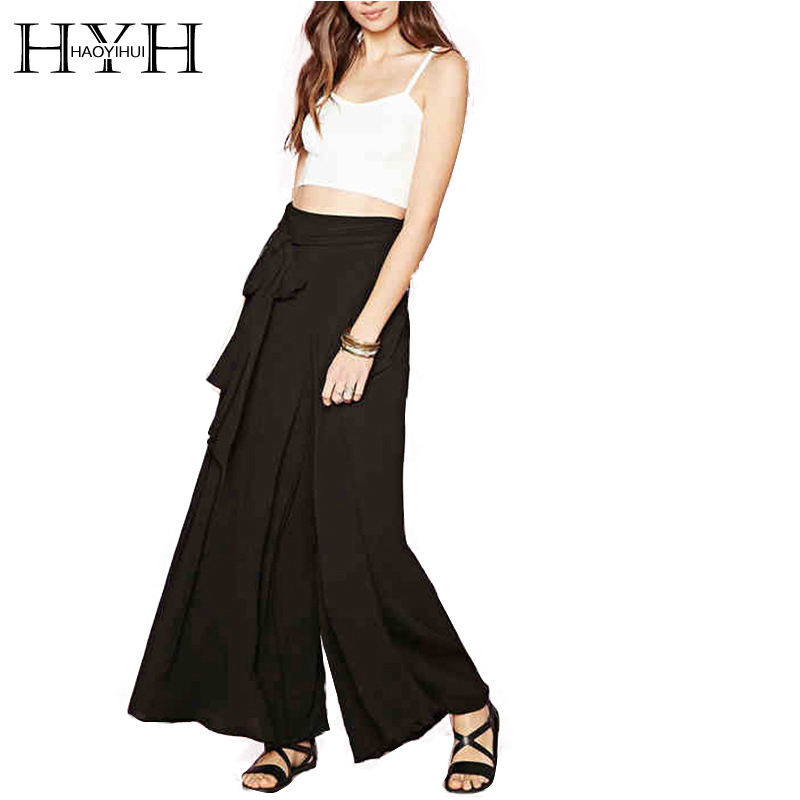HYH HAOYIHUI 2017 Brand New Summer Women   Wide     Leg     Pants   Chiffon Solid Black Pleated   Wide     Leg     Pants   Ladies Loose   Pants