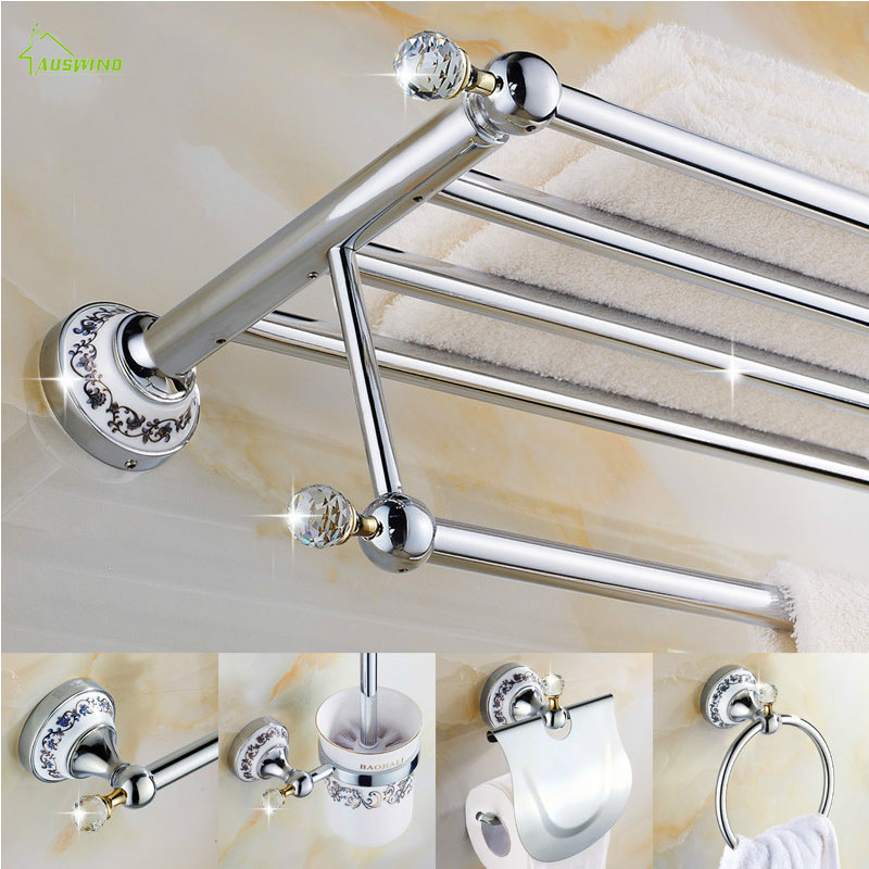 Accessories:  European Ceramic Crystal Polished Bathroom Accessories Solid Brass Hardware Set Chrome Finish Products Oi3 Bathroom Accessories - Martin's & Co
