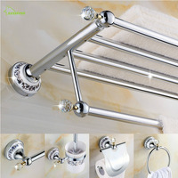 European Ceramic Crystal Polished Bathroom Accessories Solid Brass Hardware Set Chrome Finish Products Oi3 Bathroom Accessories