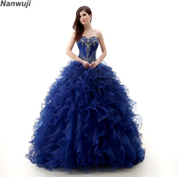 Sweetheart Neck Vintage Ruffles Ball Gown Quinceanera Gown 2018 Beaded Sequined Organza Debutante Dress For 15 Year Plus Size