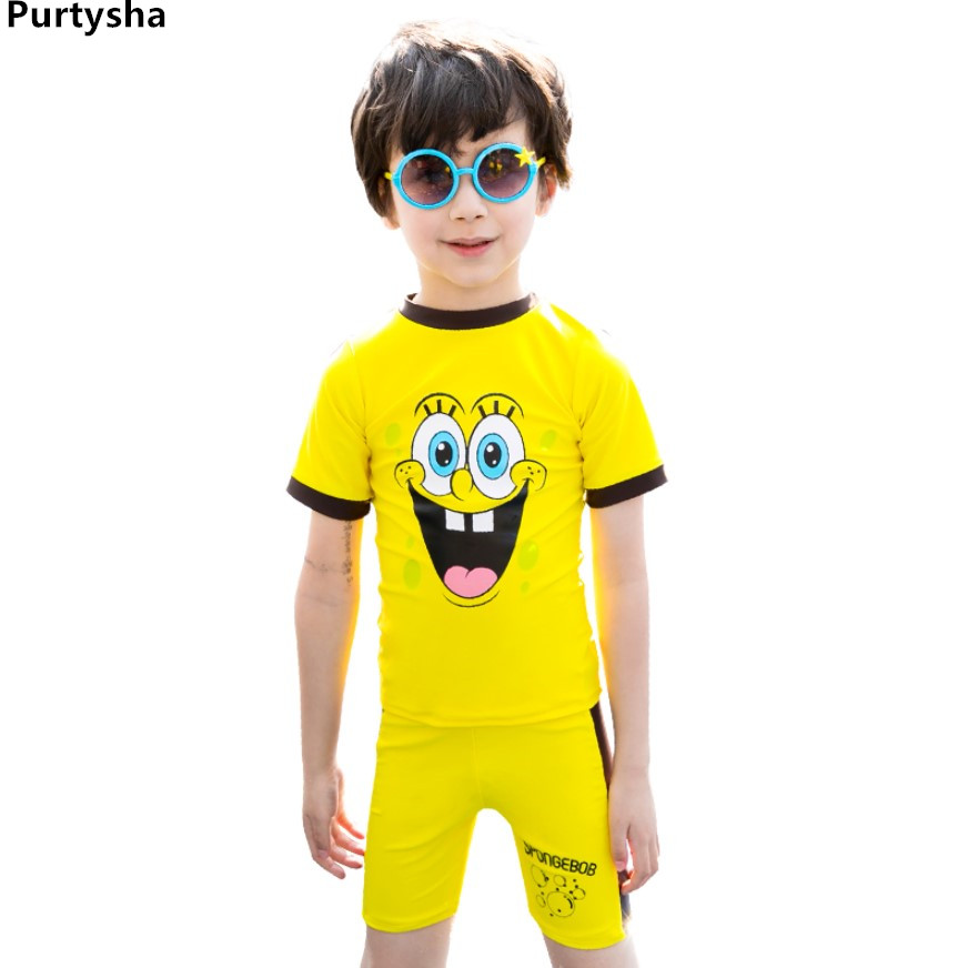Kids Swimwear 2018 Korean Children Boys Girls Short Sleeves Cartoon Bathing Suit Baby Toddler Plus Size Two Piece Swimsuit 2-10Y