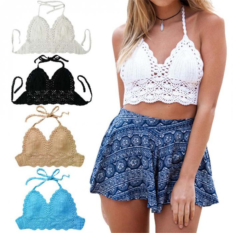 Hot Summer Style <font><b>Crochet</b></font> <font><b>Crop</b></font> <font><b>Top</b></font> <font><b>Sexy</b></font> Vintage Cropped <font><b>Tops</b></font> Summer Hollow Out Strappy Halter Kinitted Camis <font><b>Top</b></font> Bra for Women image
