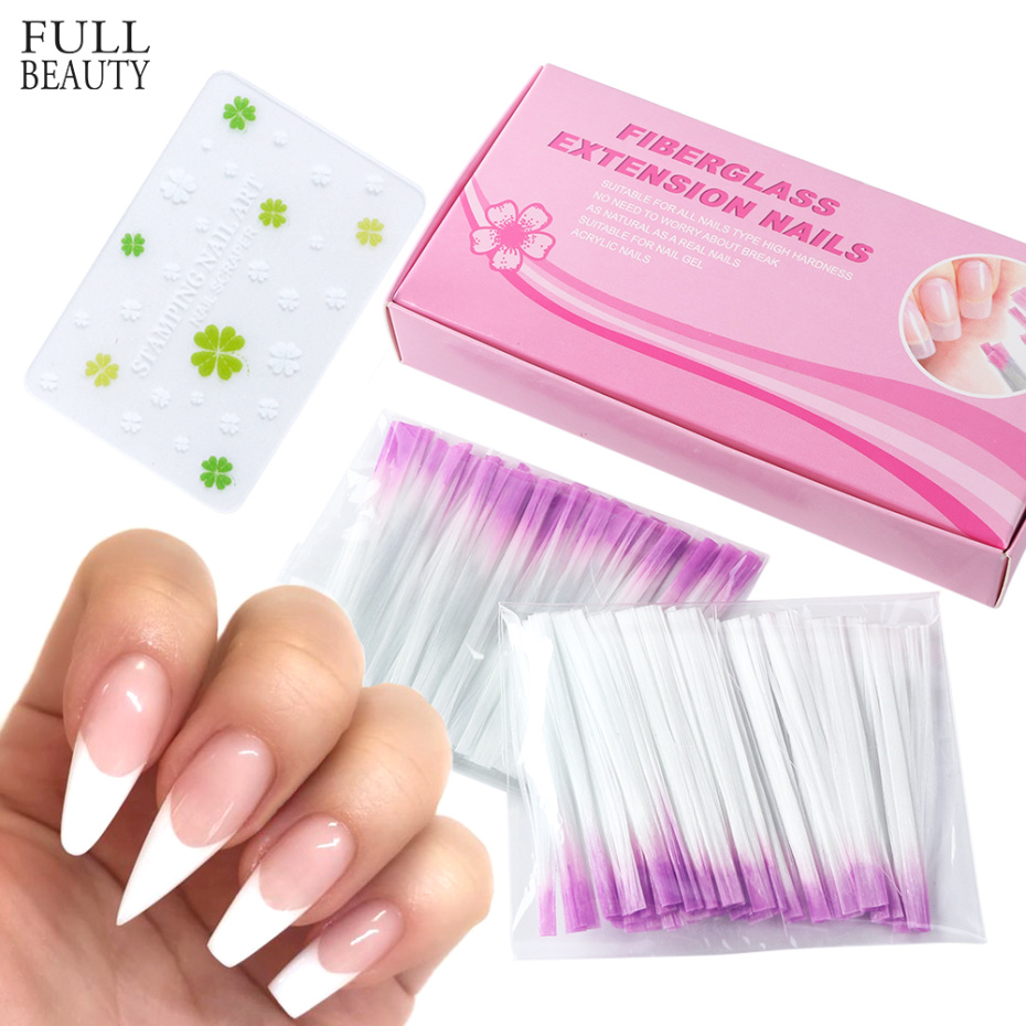 100pcs Fiber Glass Nail Extension For UV Gel Building French Manicure Acrylic Fiberglass Nail Forms Salon Tool Tips CH1013