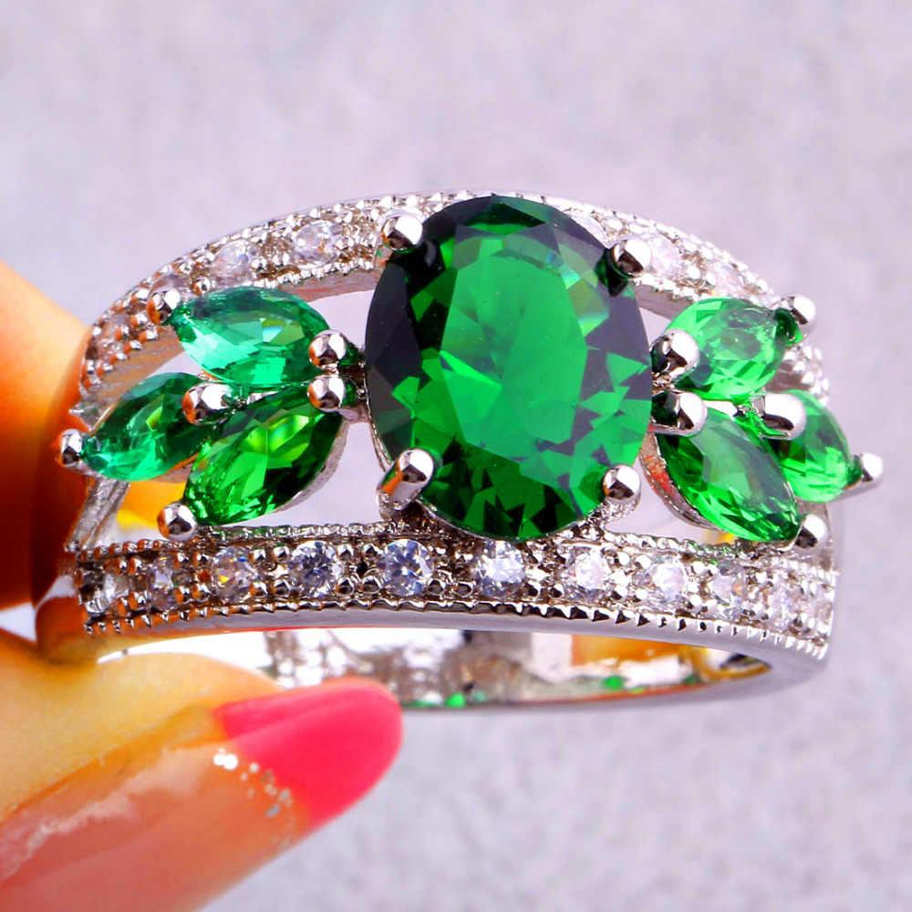 JROSE Charming สีเขียวและสีขาว CZ เงินสีขนาดแหวน 7 8 9 10 11 12 เครื่องประดับสำหรับผู้หญิงขายส่งแฟชั่นคลาสสิกของขวัญ