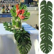 OurWarm 60Pcs Artificial Tropical Palm Leaf Hawaiian Party Supplies Wedding Placemat Table Decor Jungle Beach Theme Decorations