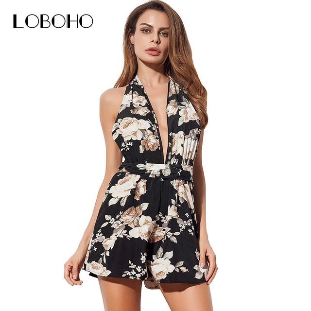 606d63285b Floral Sexy Romper Summer 2018 Fashion Rompers Womens Jumpsuit Shorts Off  Shoulder Deep V Neck Halter Print Playsuit Women