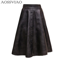 AOSSVIAO 2019 New Spring Women Skirt Fashion PU Leather Skirt High Waist Pleated Swing Vintage Maxi Skirt Saias Plus Size