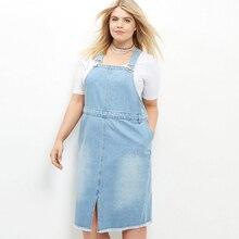 2016 Autumn Denim Overall Dress Women Suspenders Front Slit Light Blue Jeans Dresses Femme Robes Clothing Large Size 4XL 5XL 6XL