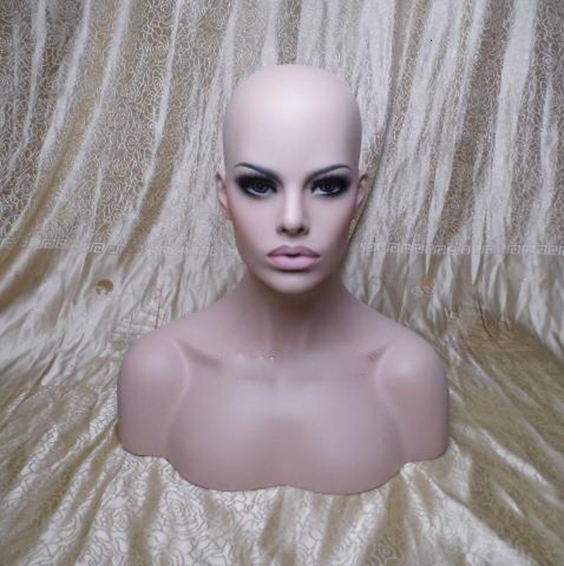 New Female Realistic Mannequin Head Fiberglass Jewelry And Hat Display Glasses Mold Stand Torson Wig No