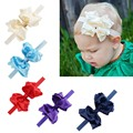 3Pcs Double Layer Ruffle Ribbon Bow With Elastic Headband Solid Handmade Boutique Bow Headbands For Baby Infant Girls Hairband