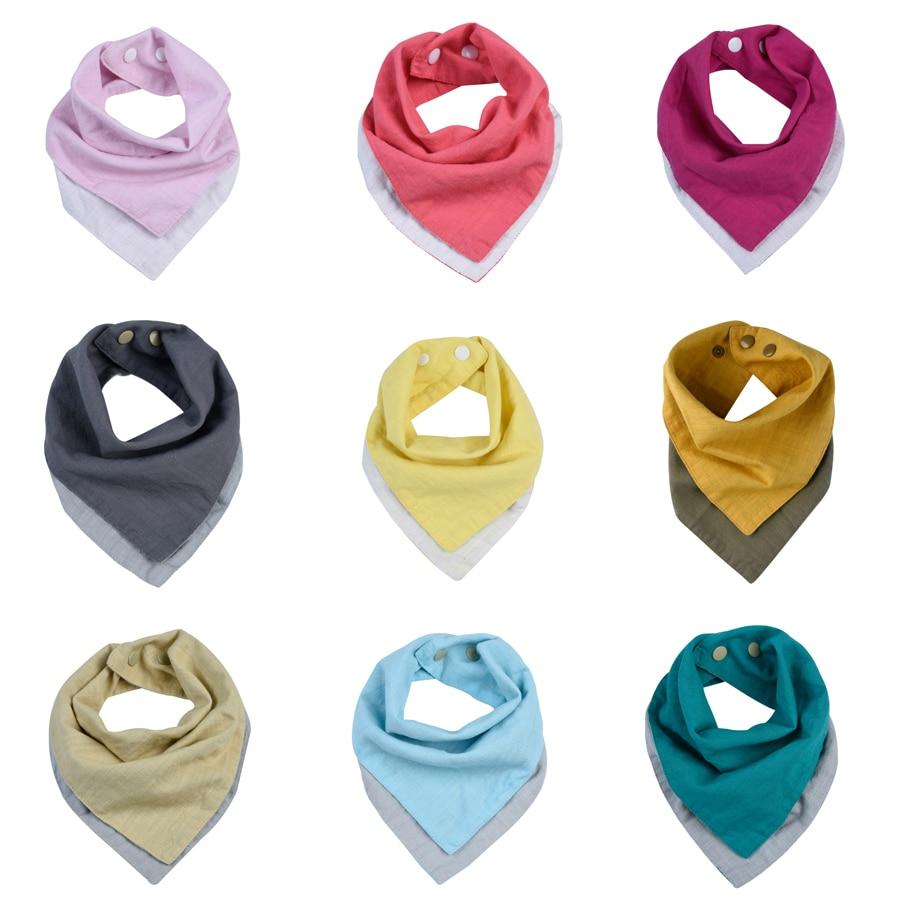 2 Colors Reversible Muslin & Cotton Baby Bibs Unsiex Baby Accessories Newborn Baby Bandana Bibs Soft Toddler Triangle Scarf