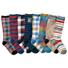 8 pairs/lot  4-12 years Kids Knee High Socks For boys cartoon tube socks sports School Style high quality