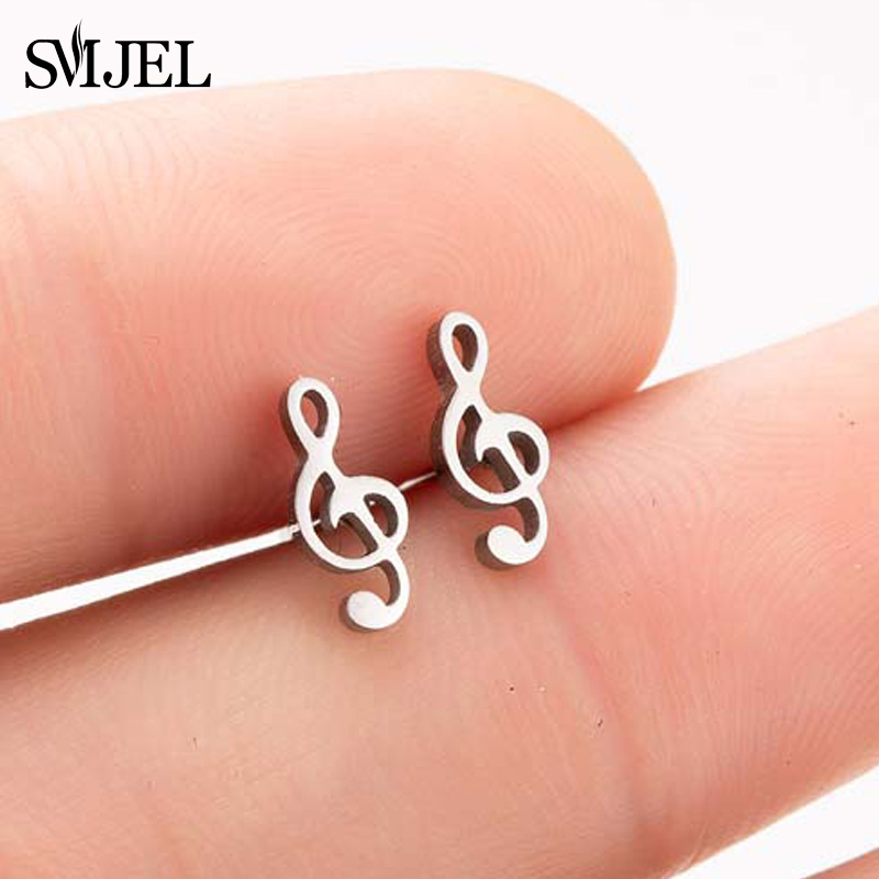 SMJEL Fashion Music Note Stud Earrings Women Stainless Steel Musical Cross Earrings Small Rock Jewelry Gift For Girl Bijoux