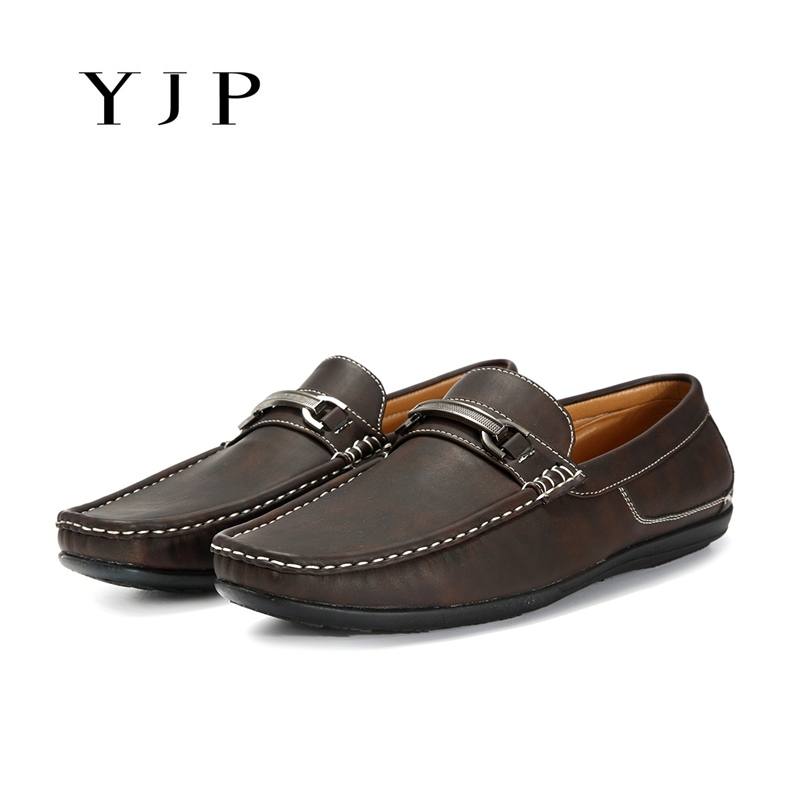 YJP Men Moccasins Boat Shoes, Brown Metal Buckle Loafers, Man Sewing Slip On Flats, Fashion Soft Sole Casual Flat Shoes crocodile shoes men loafers moccasins men shoes casual flats men flats slip on leather shoes brown blue black