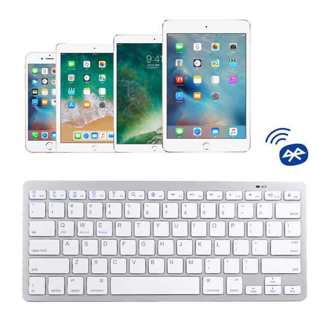 Russian French Arabic Spanish Wireless Keyboard Bluetooth 3.0 for iPad Tablet Laptop Support iOS Windows Android System 2