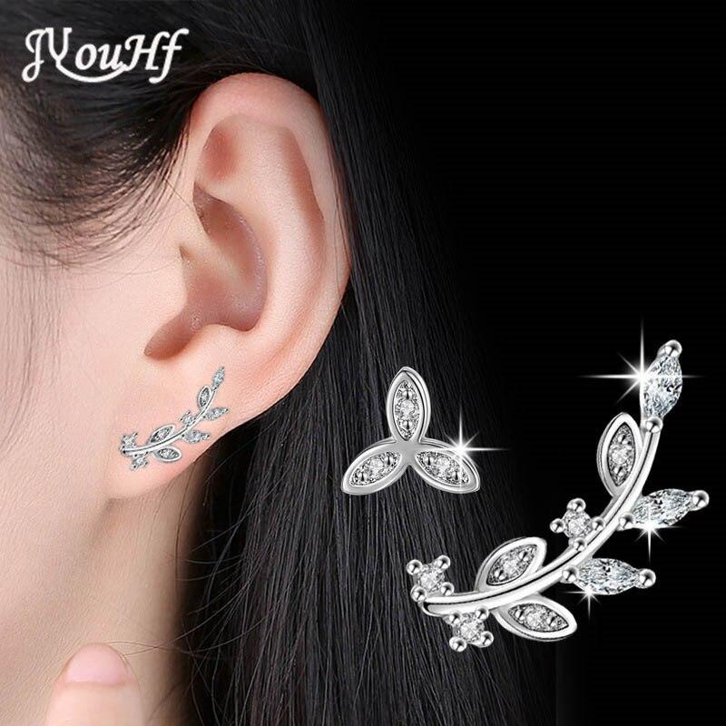 JYouHF 2017 New Elegant Leaf Earrings for Women Girls AAA Clear Zircon 925 Sterling Silver Stud Earrings Brincos Fashion Jewelry серебрянные серьги с цветком