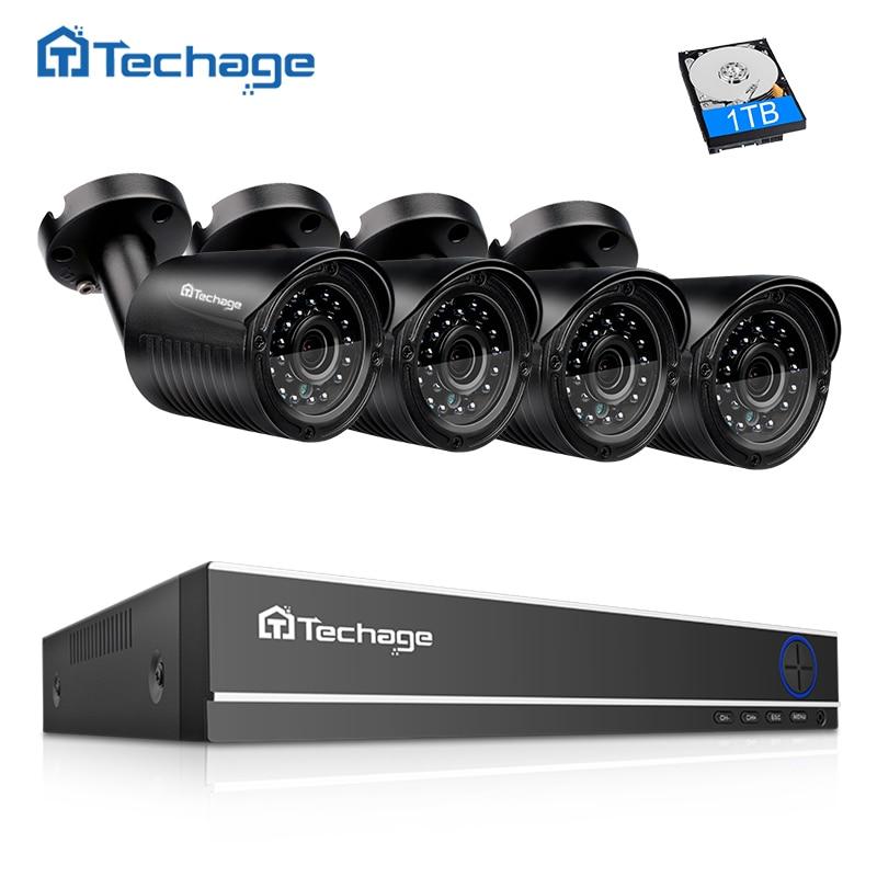 Techage Security Camera System 4CH 720P DVR 1.0MP 1200TVL IR Night Outdoor Waterproof AHD CCTV Camera P2P Video Surveillance Set