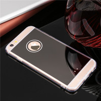 Phone Cases For IPhone 5 5S SE 6 6S 6Plus 6sPlus Electroplating With Logo Window Clear