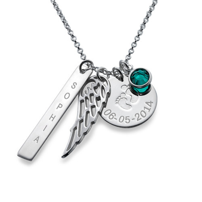 product Personalized 925 Sterling Silver Birthstone Article Name Brand With Wings Necklace For Women Custom Made With Any Name & Date
