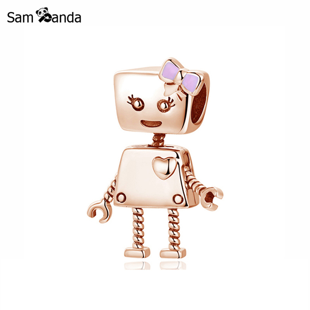 f9fe1f1d5 Authentic Original 100% 925 Sterling Silver Bead Charm Love Heart Robot  Charms Rose Gold Fit Pandora Bracelets Women Diy Jewelry
