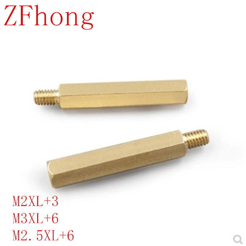 50PCS 20PCS M2*L+<font><b>3mm</b></font> M2.5/<font><b>M3</b></font>/M4*L+6mm Brass Spacing male to female Threaded Pillar PCB Computer PC Motherboard StandOff Spacer image