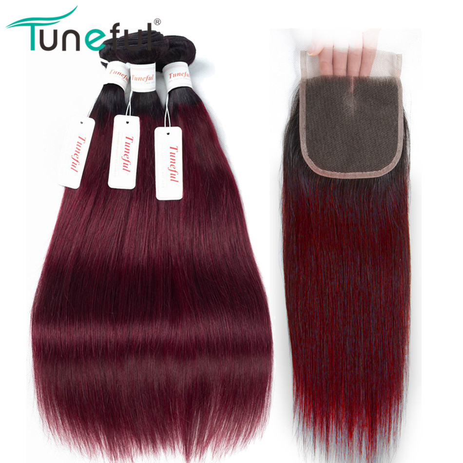 Hair Extensions & Wigs Humorous Ombre Bundles With Closure Tuneful 100% Brazilian Straight Remy Human Hair Weft Weave T1b/ Burgundy Hair 3 Bundles With Closure Special Summer Sale Human Hair Weaves