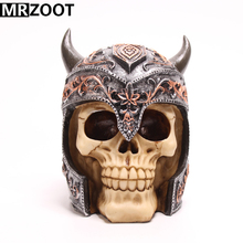 MRZOOT Gothic Punk Resin Crafts Home Decoration and Cool Halloween Carving Helmet Skull Sculpture Model