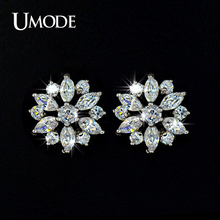 UMODE Hot Selling Marquise cut AAA+ CZ Stones Flower shaped Post Stud Earrings For Women Brincos Jewelry  AUE0018