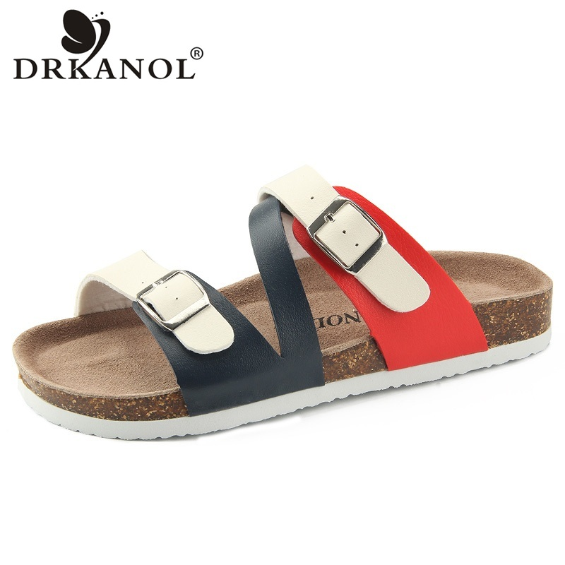 DRKANOL New Design Flat Beach Slippers Summer Women Slippers Shoes Double Buckle Cork Casual Slides Women Sandals Big Size 35-44 2016 summer patent leather buckle slides for women fashion stone upper flat platform ladies casual beach slippers sandals shoes