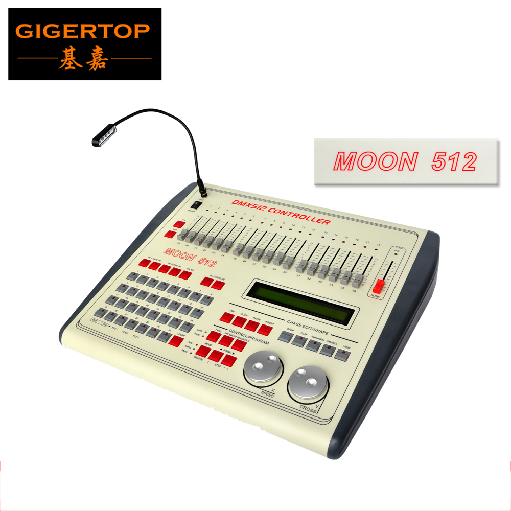 China TIPTOP Moon 512 Stage Light Controller 512 Channel DMX512 Controller DJ Laser Stage Entertainment Stage Lighting Effect  tiptop sunny 512 dmx stage light controller black color dmx in out equipped led lamp optical isolated independent drive