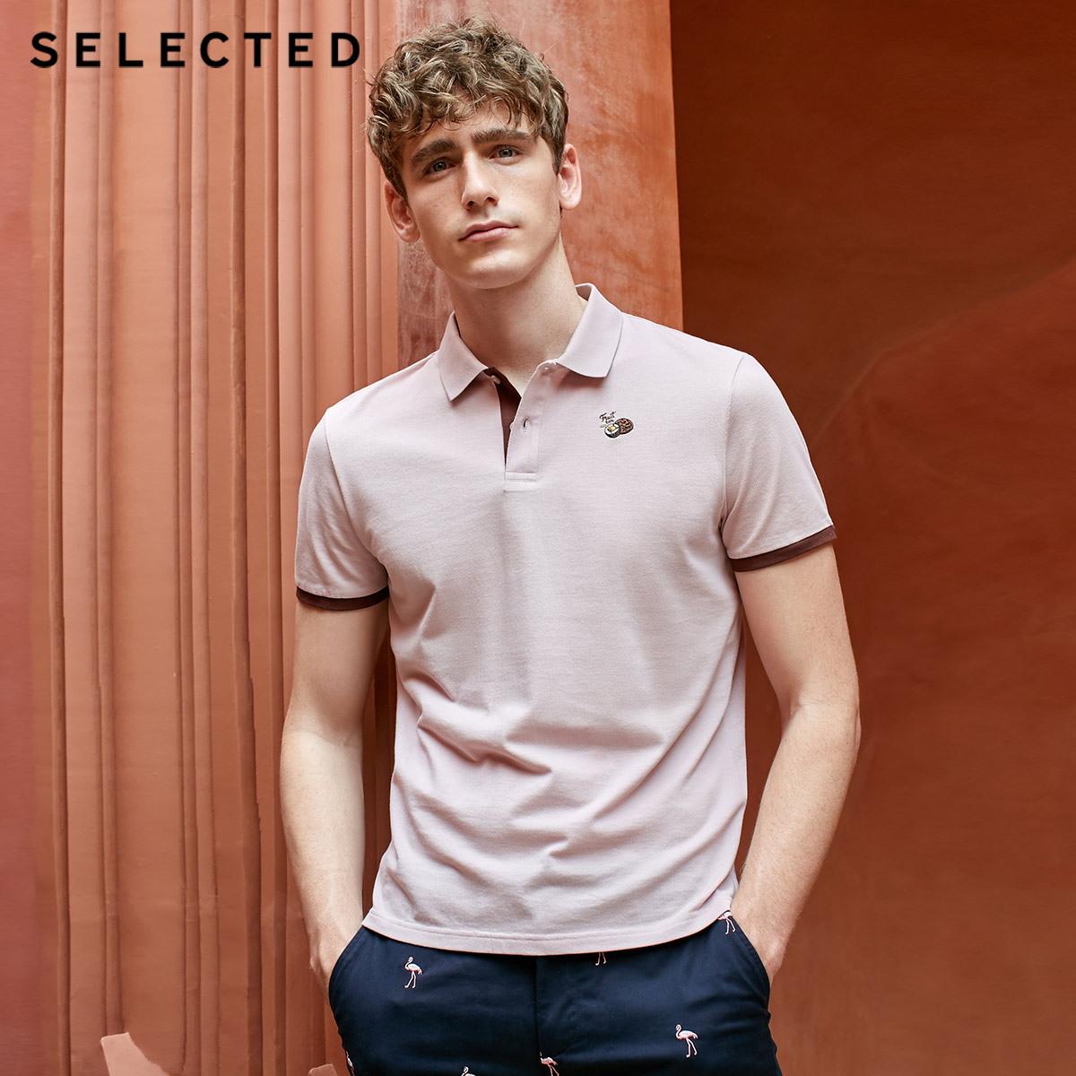 SELECTED Men's Embroidered Turn-down Collar Short-sleeved Polo Shirt S 419206510