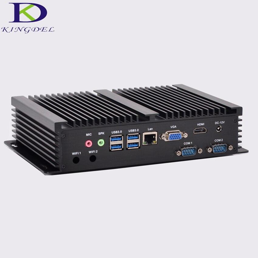 Windows 10 Cheap Fanless Mini Industrial Pc With 4GB RAM MSATA SSD Intel I3 4010u CPU 2 COM Ports Mini Desktop Gigabit LAN