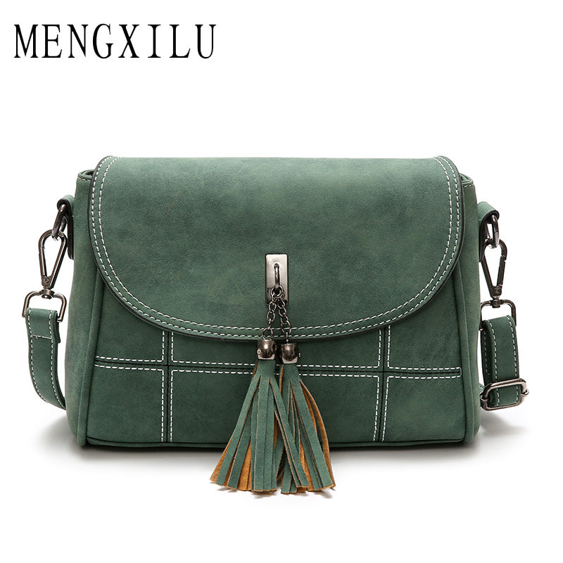 MENGXILU Nubuck Women Messenger Bag Female Shoulder Bag Women's Handbag Fashion Tassel Crossbody Bags Woman 2018 PU Leather Sac new 2016 fashion women handbag pu leather shoulder bags woman fashion trends metal logo messenger shoulder bag ft56
