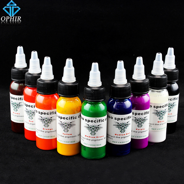 OPHIR 9 Colors Tattoo Inks Pigment 30ml/bottle High Quality Tattoo ...