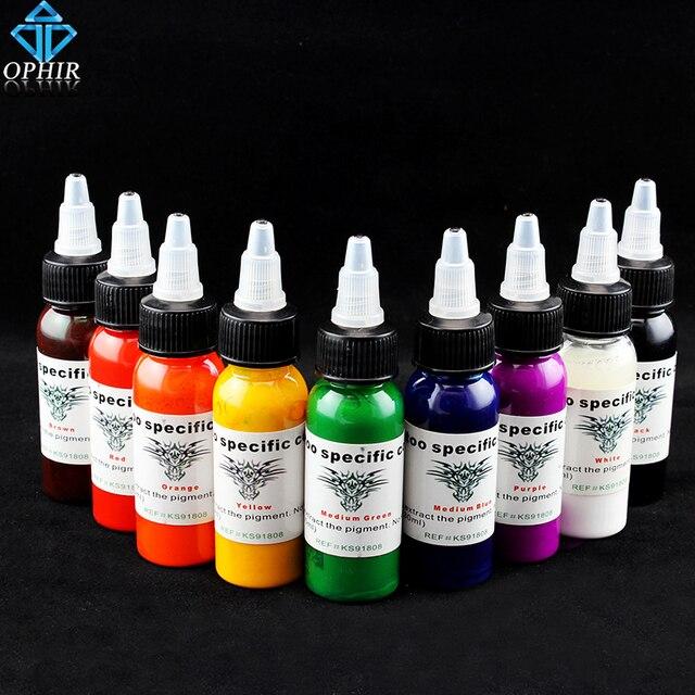 OPHIR 9 Cores Tattoo Tintas Pigmento 30 ml/bottle Cores de Tintas de Tatuagem de Alta Qualidade Tatuagem Body Art Supply _ TA021