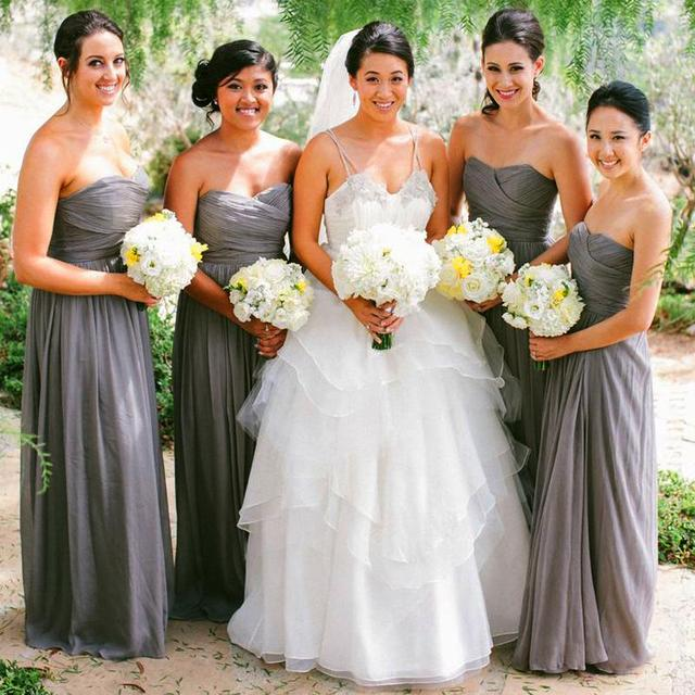 d85671b6dc15d US $89.99 |2016 New Arrival Strapless Chiffon Womens Dark Grey Bridesmaids  Dresses Cheap Wedding Gowns Formal Dresses Maid Of Honor FF68-in Bridesmaid  ...