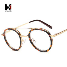 6e8175abb112 SHAUNA Retro Doule Bridges Women Round Leopard Glasses Frame Vintage Men  Clear Lens Eyewear