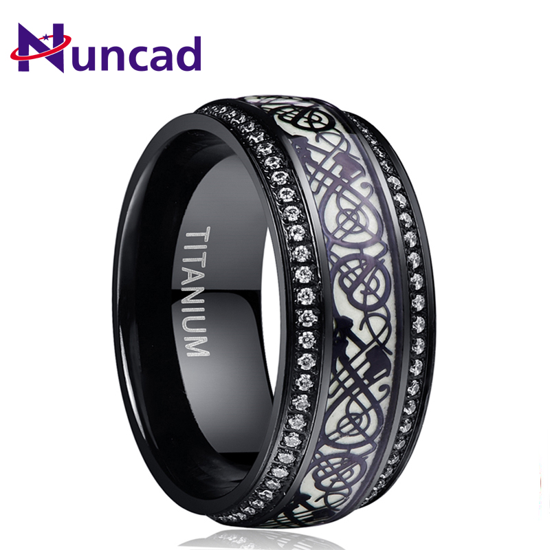 Hot Sale Black Dragon Style Luminous Titanium Stainless Steel Ring Inlay Cubic Zirconia Green Background Trendy Men's Party Ring