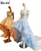 Buổi tối Ăn Mặc Ngắn Trước Dài Lại Boat Neck Ocean Blue đính Tiệc Váy Cam Cổ Điển Long Tail Ren Up Bridal CostumeC